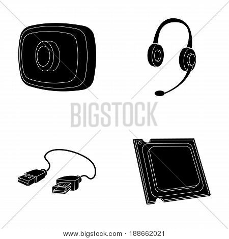 Webcam, headphones, USB cable, processor. Personal computer set collection icons in black style vector symbol stock illustration .