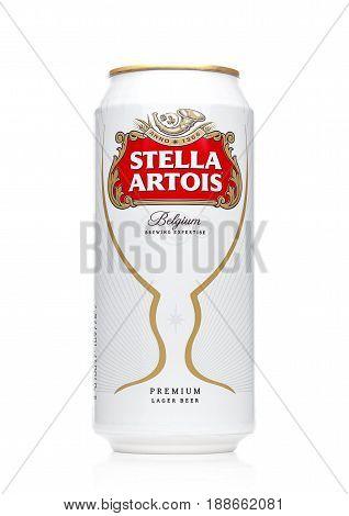 London, Uk - May 29, 2017: Alluminium Can Of Stella Artois Beer On White. Stella Artois Has Been Bre