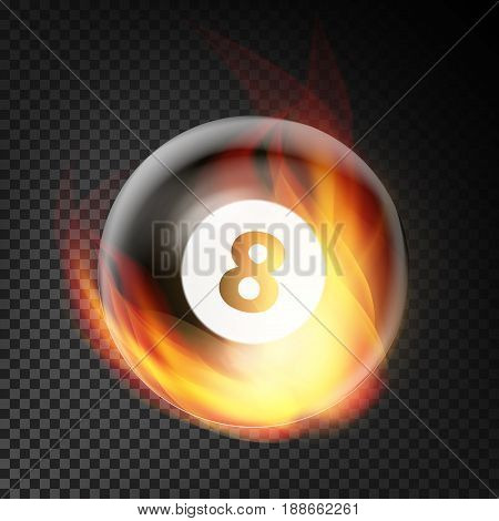 Billiard Ball Vector Realistic. Billiard Ball 8 In Burning Style. Transparent Background