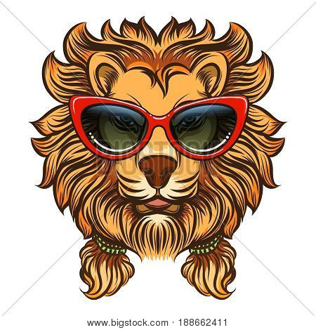 Glam lion with red sunglasses. Vector summer style lion print isolated on white background