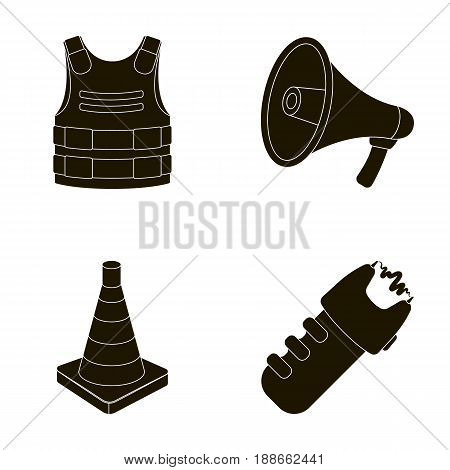 Bulletproof vest, megaphone, cone of fencing, electric shock. Police set collection icons in black style vector symbol stock illustration .