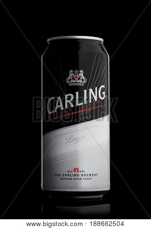 London, Uk - May 29, 2017: Aluminum Can Of Carling Lager Beer On Black.