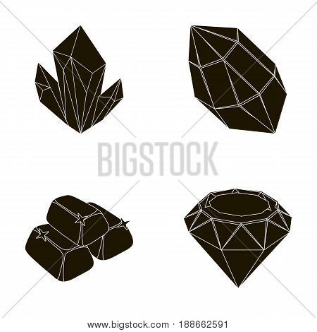 Crystals, minerals, gold bars. Precious minerals and jeweler set collection icons in black style vector symbol stock illustration .