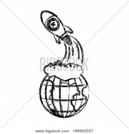 monochrome blurred silhouette of earth globe and space rocket launching vector illustration