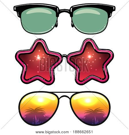 Summer style eyeglasses isolated on white background. Vector illustration