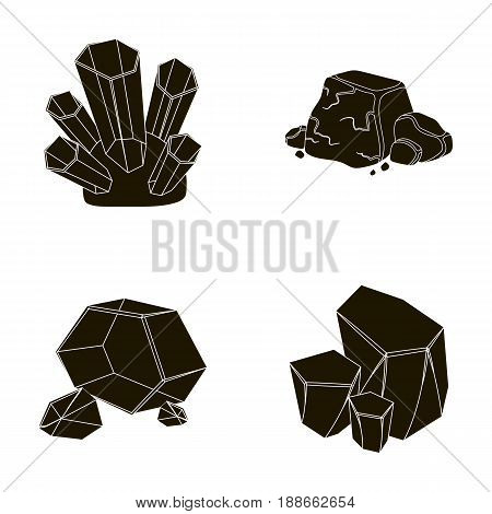 Crystals, iron ore. Precious minerals and a jeweler set collection icons in black style vector symbol stock illustration .