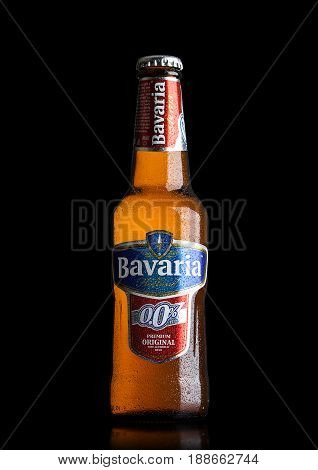 London, Uk - May 29, 2017: Bottle Of Bavaria Holland Non Alcoholic Beer On Black.bavaria Is The Seco