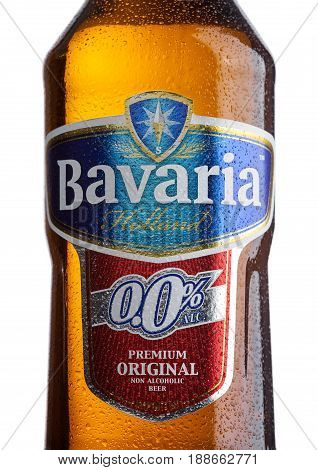London, Uk - May 29, 2017: Bottle Label Of Bavaria Holland Non Alcoholic Beer On White.bavaria Is Th