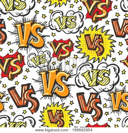 Colorful cartoon syle seamless pattern with VS confrontation signs and stars. Vector illustration