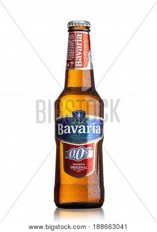 London, Uk - May 29, 2017: Bottle Of Bavaria Holland Non Alcoholic Beer On White.bavaria Is The Seco
