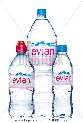 London, Uk - May 29, 2017: Bottle Of Evian Natural Mineral Water On A White. Made In France.