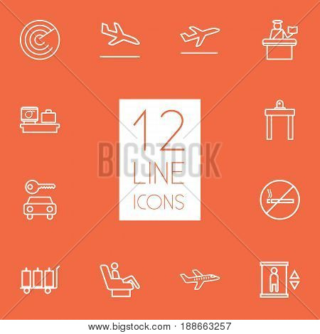 Set Of 12 Plane Outline Icons Set.Collection Of Business Class, Passport Controller, Airport Security And Other Elements.