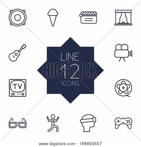 Set Of 12 Amusement Outline Icons Set.Collection Of Guitar, Ice Cream, Film Role And Other Elements.