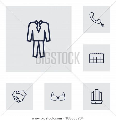 Set Of 6 Business Outline Icons Set.Collection Of Glasses, Handset, Handshake Elements.