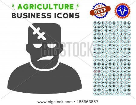 Frankenstein gray icon with agriculture business pictogram kit. Vector illustration style is a flat iconic symbol. Agriculture icons are rounded with blue circles.