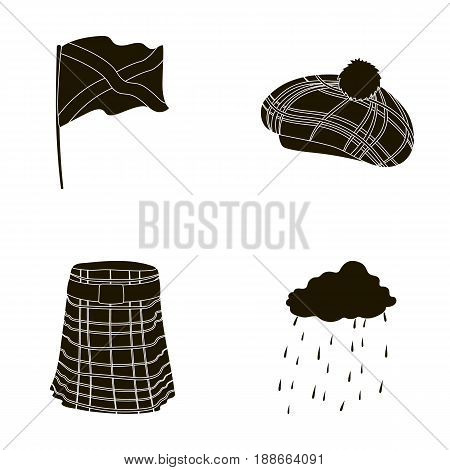 Flag, kilt, rainy weather, cap.Scotland country set collection icons in black style vector symbol stock illustration .
