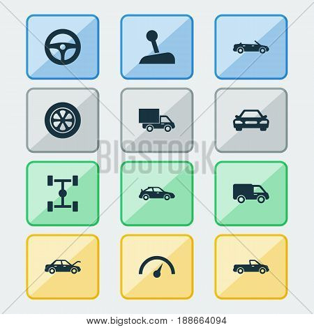 Automobile Icons Set. Collection Of Auto, Fixing, Carriage And Other Elements. Also Includes Symbols Such As Tire, Lorry, Automobile.