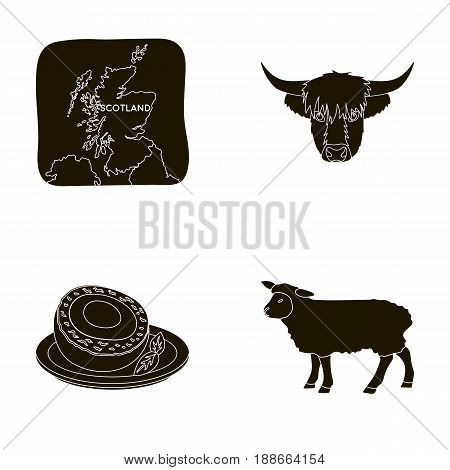 Territory on the map, bull's head, cow, eggs. Scotland country set collection icons in black style vector symbol stock illustration .