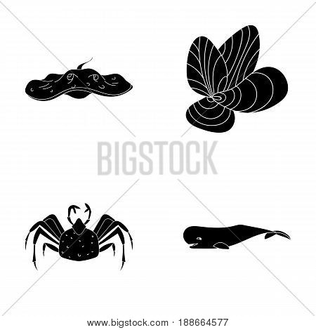 Electric ramp, mussels, crab, sperm whale.Sea animals set collection icons in black style vector symbol stock illustration .
