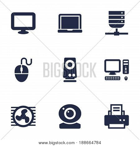 Set Of 9 Laptop Icons Set.Collection Of Peripheral, Computer, Laptop And Other Elements.