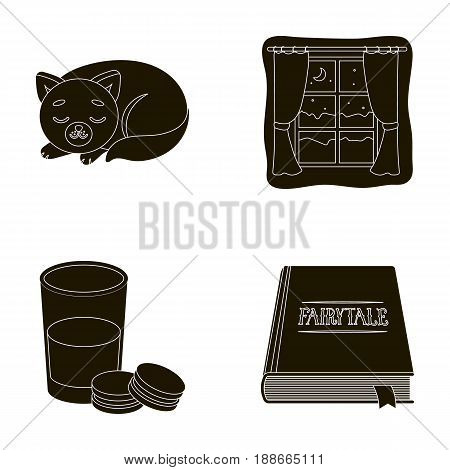 Sleeping cat, night outside the window, milk and biscuits, fairy tales. Rest and sleep set collection icons in black style vector symbol stock illustration .