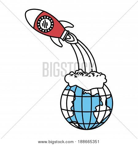 color sectors silhouette of earth globe and space rocket launching vector illustration