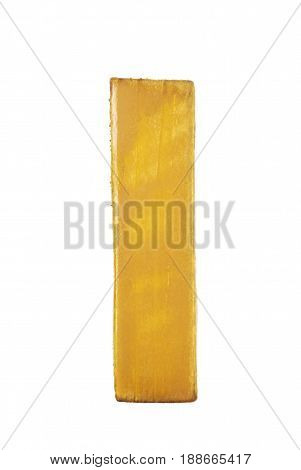 Single sawn wooden letter I symbol coated with paint isolated over the white background