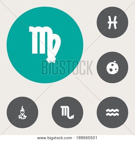 Set Of 6 Astronomy Icons Set.Collection Of Zodiac Sign, Augur, Water Bearer And Other Elements.