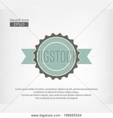 Award icon isolated. Vector infographic sign for the First Place. Grey and blue circle symbol with ribbon on abstract gray triangle background. Best label illustration