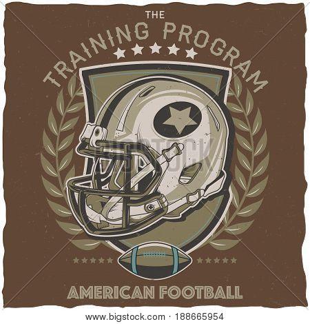 American football t-shirt label design with illustration of football helmet