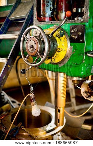 Photo of rare green lathe, close-up at the factory