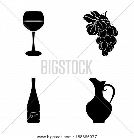 A glass of red wine, champagne, a jug of wine, a bunch. Wine production set collection icons in black style vector symbol stock illustration .