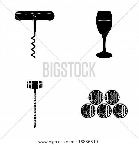 Corkscrew, alcohol counter, barrels in the vault, a glass of white wine. Wine production set collection icons in black style vector symbol stock illustration .