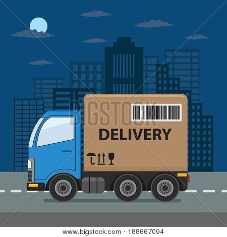 Delivery truck with cardboard box on city background. Product goods shipping transport. Fast delivery service illustration.