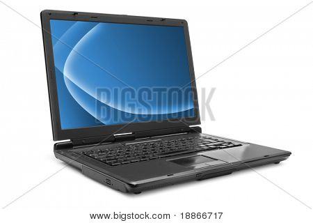 One black laptop with the white screen on white background