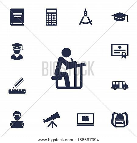 Set Of 13 Studies Icons Set.Collection Of Pencil, Textbook, Notebook And Other Elements.