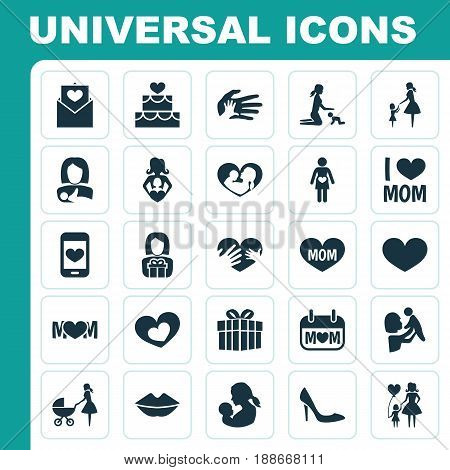 Mothers Day Icon Design Concept. Set Of 25 Such Elements As Pastry, Baby And Letter. Beautiful Symbols For Baby, Present And Stroller.