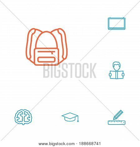 Set Of 6 Education Outline Icons Set.Collection Of Graduation Cap, Learning, School Board And Other Elements.