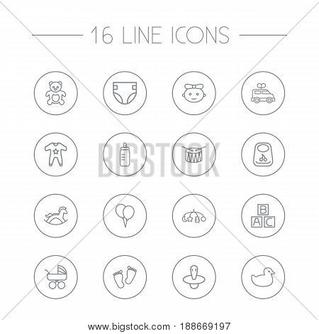 Set Of 16 Kid Outline Icons Set.Collection Of Carriage, Clockwork Car, Smock And Other Elements.