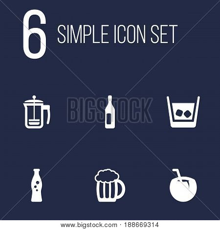 Set Of 6  Icons Set.Collection Of Wine, Pot, Fizzy Water And Other Elements.