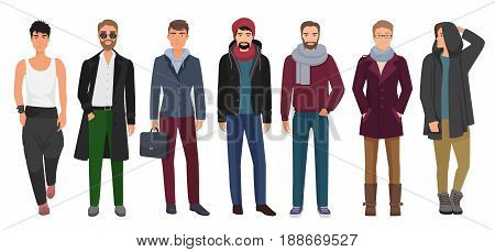 Handsome and stylish men set. Cartoon guys male characters in trendy fashion clothes. Vector illustration