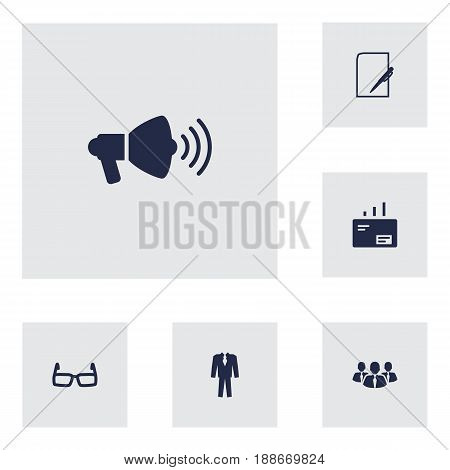 Set Of 6 Business Icons Set.Collection Of Pen, Message, Colleagues And Other Elements.