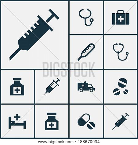 Drug Icons Set. Collection Of Painkiller, Ache, Cure And Other Elements. Also Includes Symbols Such As Medicine, Capsule, Painkiller.