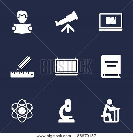 Set Of 9 Science Icons Set.Collection Of Blackboard, Binoculars, Molecule And Other Elements.
