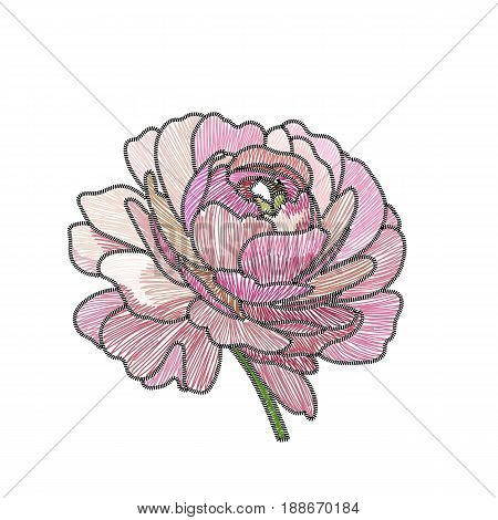Pink rose, embroidery rose, graphic embroidery rose, flower ebroidery rose, fabric embroidery rose, lace embroidery rose. Vector.