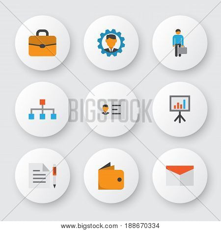 Trade Flat Icons Set. Collection Of Presentation Board, Envelope, Work Man And Other Elements. Also Includes Symbols Such As Pen, Manager, Gear.