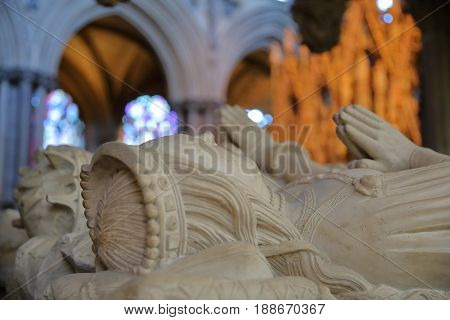 ELY, UK - MAY 26, 2017: The interior of the Cathedral - Tomb of John Tiptoft's Wife in the presbytery