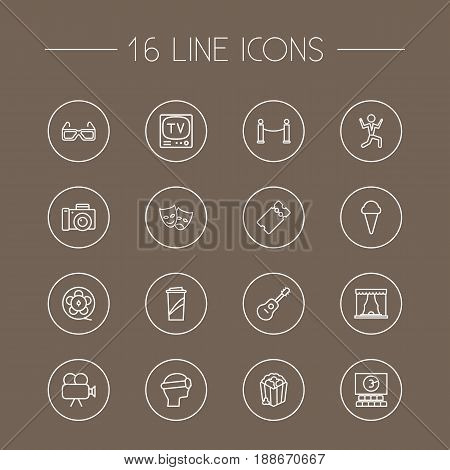 Set Of 16 Entertainment Outline Icons Set.Collection Of 3D Glasses, Tv Set, Masks And Other Elements.