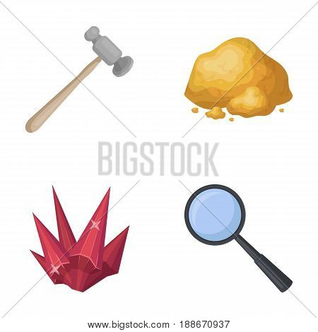 A jeweler s hammer, a magnifier, a copper ore, a crystal. Precious minerals and a jeweler set collection icons in cartoon style vector symbol stock illustration .