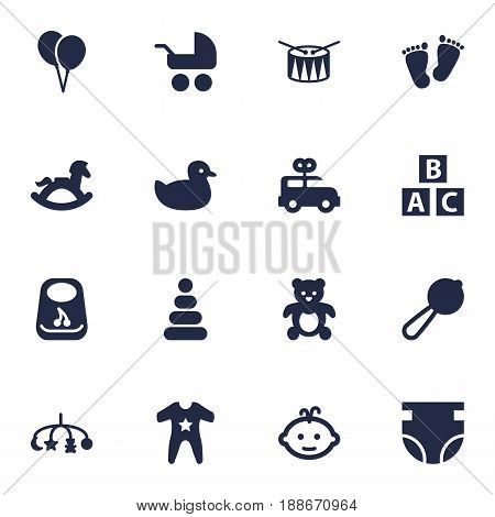 Set Of 16 Baby Icons Set.Collection Of Toy, Bear, Barrel And Other Elements.